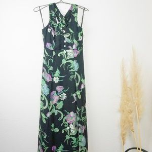 vintage floral print strappy back maxi dress